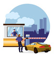 cartoon color characters people and protect toll vector image vector image