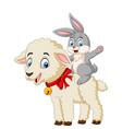 cartoon cute bunny riding a lamb vector image vector image