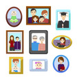 cartoon family photos in color frames set vector image