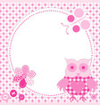 cartoon frame owl in patchwork style vector image