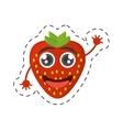 cartoon tasty strawberry fruit cut line vector image