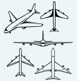 collection different airplane vector image vector image