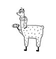 cute hand-drawn of a lama vector image