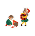 flat girl and boy with big present box vector image