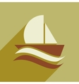 flat icon with long shadow boat sailboat vector image vector image