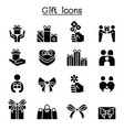 gift gift box present icon set vector image