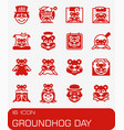 groundhog day icon set vector image