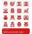 groundhog day icon set vector image