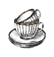 hand drawn cups with saucers vector image