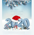 holiday christmas background with santa hat and a vector image vector image