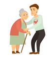 kind male volunteer helps old lady with cane vector image vector image