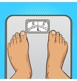 Man feet on the floor scales pop art style vector image vector image