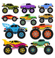 monster truck cartoon vehicle or car and vector image vector image