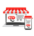 online shopping with laptop and phone vector image