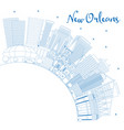 outline new orleans louisiana city skyline with vector image vector image