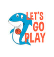 player shark t-shirt design with slogan vector image vector image