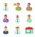 responsible employee icons set cartoon style vector image vector image