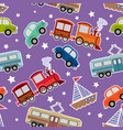 seamless kids transport toys background vector image