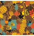 Seamless pattern with flowers and bees vector image vector image
