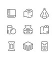 set line icons of towel and napkin vector image