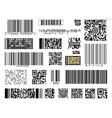 set of bar codes on white background vector image