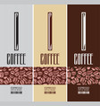 set three vertical labels for coffee vector image vector image