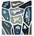 stickers aircraft in the sky and space with vector image vector image