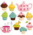 Tea set and cupcakes vector image vector image