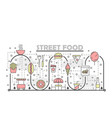 thin line art street food poster banner vector image