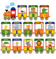 train alphabet with animals a to m vector image vector image