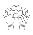 two hands hold soccer ball sport vector image vector image
