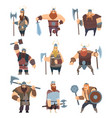 viking cartoon mythology of medieval warrior vector image