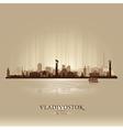 Vladivostok Russia skyline city silhouette vector image
