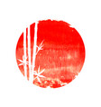 white silhouette bamboo plants on big red sun vector image vector image