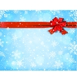 Winter background with red bow vector image