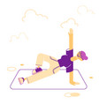 woman doing stretching or yoga exercises on mat vector image