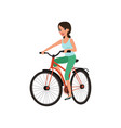 young smiling woman cycling her bike active vector image vector image