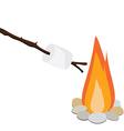 Marshmallow on wooden stick vector image