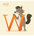 Animal alphabet with wolf vector image