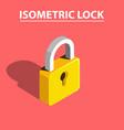 3d isometric lock vector image vector image