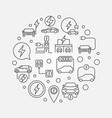 all-electric car round outline vector image vector image