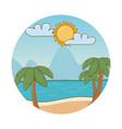 beach cartoon round label vector image vector image