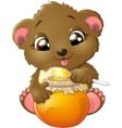 Bear eats honey vector image vector image