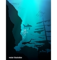 Beautiful and dangerous underwater world vector image