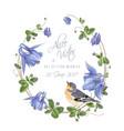 blue flower bird wreath vector image vector image