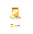 book creator logo designs template book writer vector image vector image