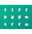 Bookmark tag favorite icons on green background vector image