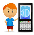 boy with cell phone vector image vector image