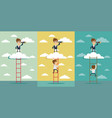 businessman standing on a ladder going throught vector image vector image