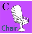 C letter alphabet Coloring book chair vector image vector image